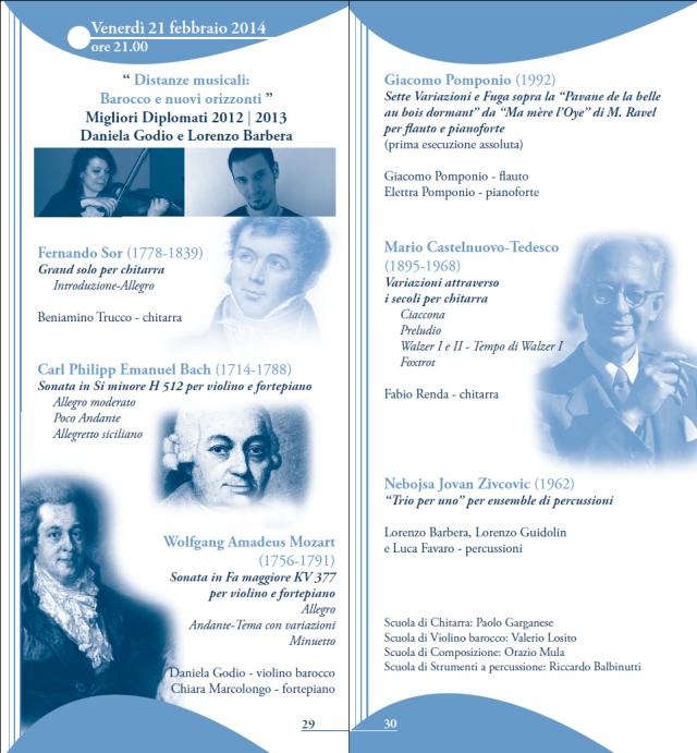 Serate musicali 2013-2014, prima parte. Venerdì 21 febbraio 2014