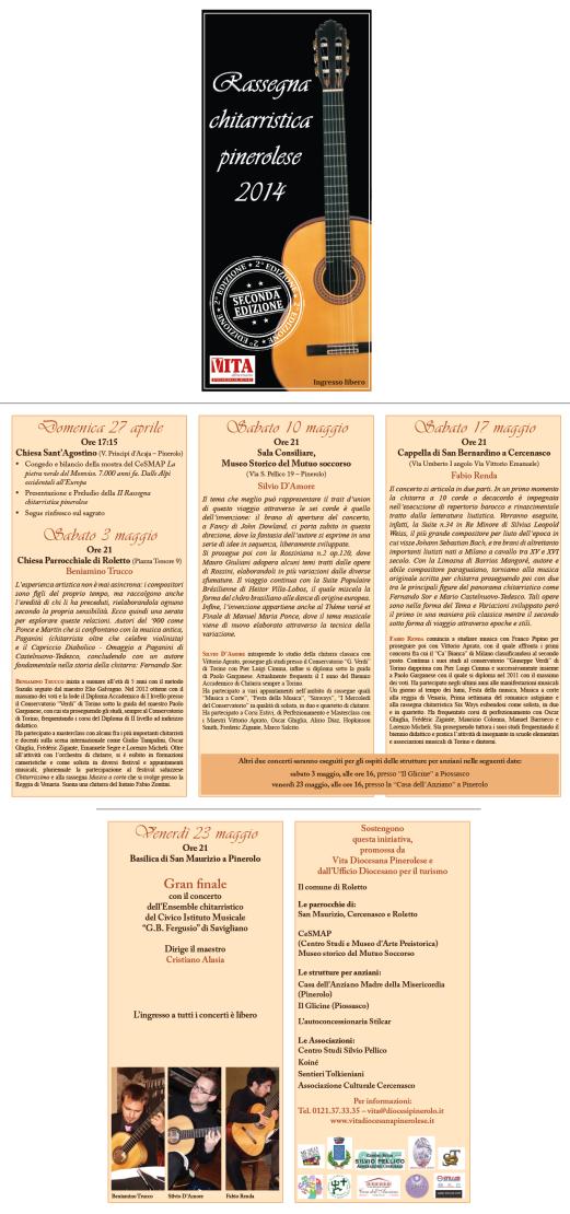 Rassegna chitarristica pinerolese 2014, Depliant 2
